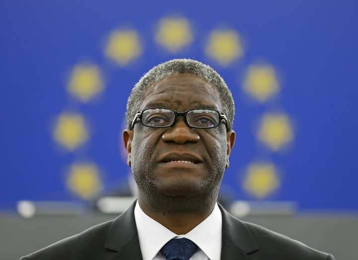 Congolese gynaecologist Denis Mukwege delivers a speech during an award ceremony to receive his 2014 Sakharov Prize at the European Parliament in Strasbourg November 26, 2014. Mukwege is specialized in the treatment of rape victims and founder of the Panzi Hospital in Bukavu, in the Democratic Republic Congo. REUTERS/Vincent Kessler (FRANCE - Tags: POLITICS HEALTH) - RTR4FO5N