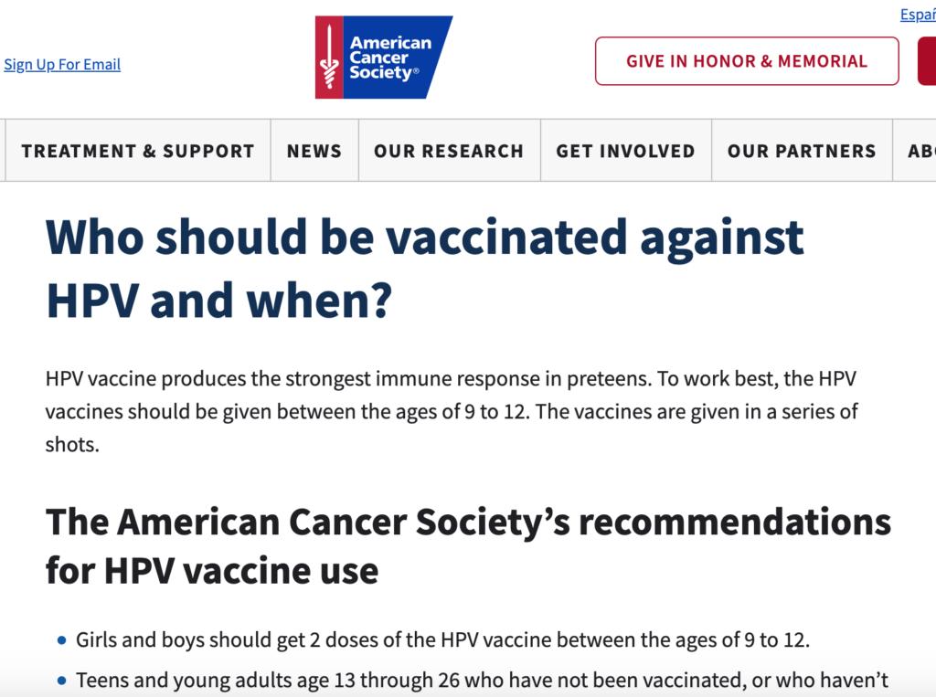 アメリカでのHPVワクチンは9歳からの男女に